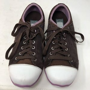 Dr Scholls Brown Canvas Slip On laces sneakers 8.5